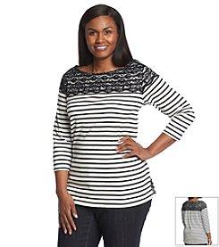 Rafaella® Plus Size Lace Yoke Stripe Knit Top