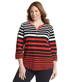 Jones New York Signature® Plus Size Stripe Henley