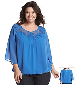 AGB® Plus Size Solid Crochet Yoke Top