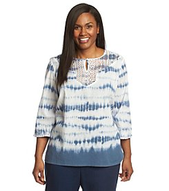 Alfred Dunner® Plus Size St. Maarten Tie Dye Lace Top