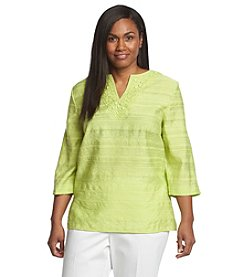 Alfred Dunner® Plus Size Morocco Solid Textured Embellished Top