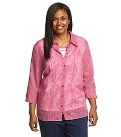 Alfred Dunner® Plus Size Bon Voyage Burnout Layered Look Top