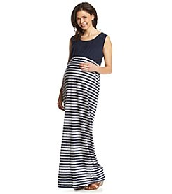 Three Seasons Maternity™ Sleeveless Solid Top Stripe Maxi Dress