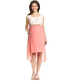 Three Seasons Maternity™ Sleeveless Colorblocked Hi-Low Hem Dress