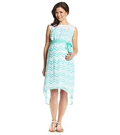 Three Seasons Maternity® Sleeveless Lace Yoke Print Dress