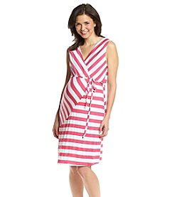 Three Seasons Maternity™ Sleeveless Surplice Pieced Stripe Dress