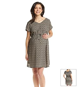 Three Seasons Maternity™ Cap Sleeve Twin Print Dress