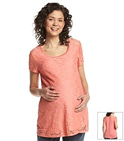 Three Seasons Maternity™ Short Sleeve Crochet And Solid Top