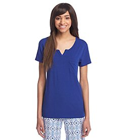cool girl™ Notched Neck Solid Sleep Tee