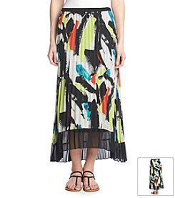 NY Collection Printed Pleated Skirt