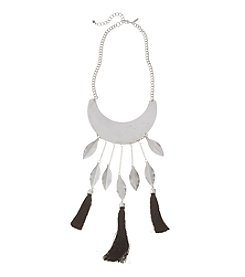 Natasha Silvertone Leaf Necklace