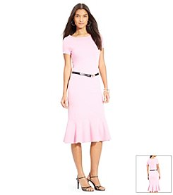 Lauren Ralph Lauren® Belted Ballet-Neck Dress
