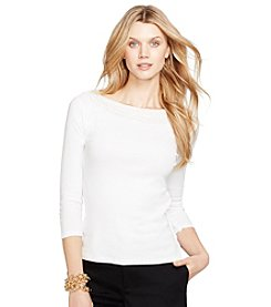Lauren Ralph Lauren® Pointelle-Knit Cotton Top