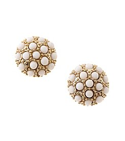 Napier® Goldtone And White Beaded Button Clip Earrings