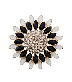 Napier® Goldtone And Jet And Simulated Crystal Floral Pin In Gift Box
