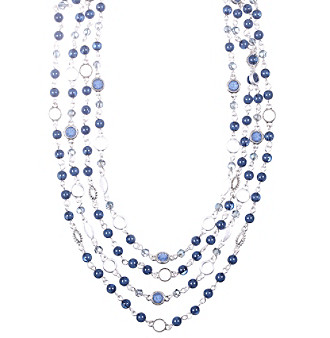 Nine West Vintage America Collection® Silvertone and Denim Beaded Multi-Row Necklace plus size,  plus size fashion plus size appare