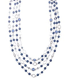 Nine West Vintage America Collection® Silvertone and Denim Beaded Multi-Row Necklace