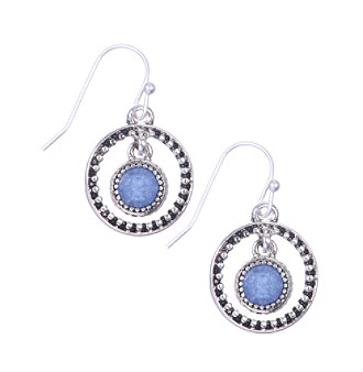 Nine West Vintage America Collection® Silvertone Orbital Drop Earrings with Denim Blue Bead plus size,  plus size fashion plus size appare