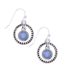 Nine West Vintage America Collection® Silvertone Orbital Drop Earrings with Denim Blue Bead