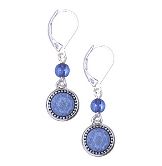 Nine West Vintage America Collection® Silvertone and Denim Bead Double Drop Earrings plus size,  plus size fashion plus size appare