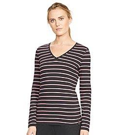 Lauren Active® Striped Cotton V-Neck Top