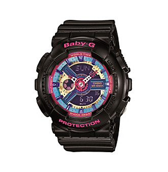 Baby-G Women's Black with Multicolored Face Watch
