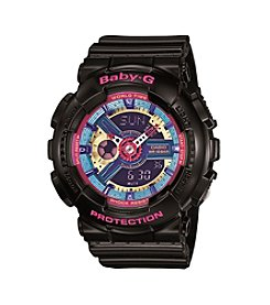 Baby-G® Women's Black with Multicolored Face Watch