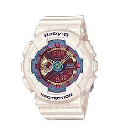 Baby-G Women's Analog-Digital Cream with Multicolored Face Watch