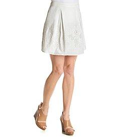 Adiva Eyelet Floral Accent Skirt