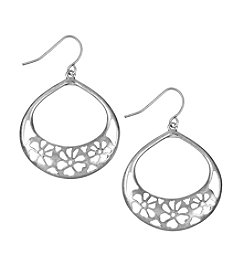 The Sak® Silvertone Flower Cutout Hoop Earrings