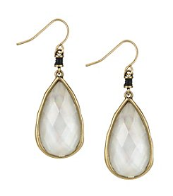 The Sak® Goldtone Pearl Elongated Faceted Drop Earrings