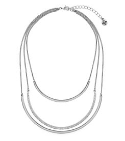 BCBGeneration™ Silvertone Tri-Layer Metal Collar Necklace