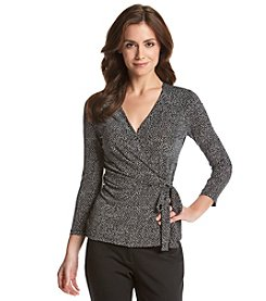 Anne Klein® Mini Dot Faux Wrap Top