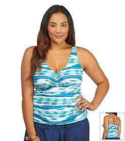 Lauren Ralph Lauren® Plus Size Bali Stripe Twist Tankini Top