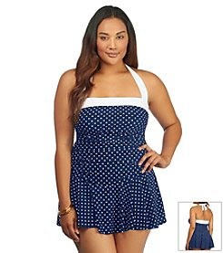 Lauren Ralph Lauren® Plus Size Harbor Dot Bandeau Skirted One Piece