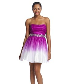 Bee Darlin' Strapless Ombre Tulle Dress With Jeweled Belt