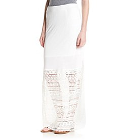 Jessica Simpson Sam Crochet Slit Maxi Skirt