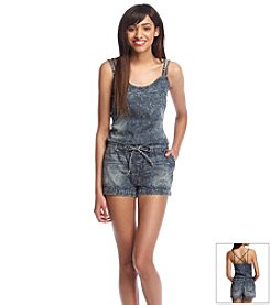 Wallflower® Acid Wash Chambray Romper