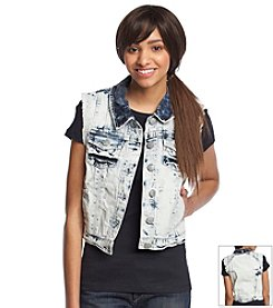 Hippie Laundry Acid Wash Destructed Denim Vest
