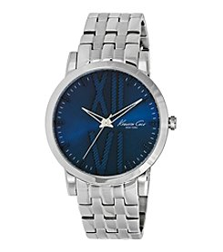 Kenneth Cole New York® Men's Silvertone Stainless Steel Bracelet Watch with Blue Dial