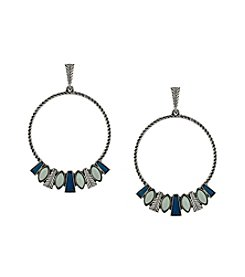 Jessica Simpson Silvertone Opal Hoop Earrings