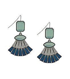 Jessica Simpson Silvertone Opal Stone Fan Earrings