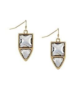 Jessica Simpson Goldtone Dual Stone Drop Earrings