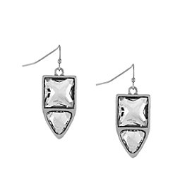 Jessica Simpson Silvertone Dual Stone Drop Earrings