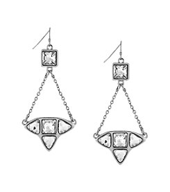 Jessica Simpson Silvertone Stone Trapeze Earrings