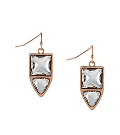 Jessica Simpson Rose Goldtone Dual Stone Drop Earrings