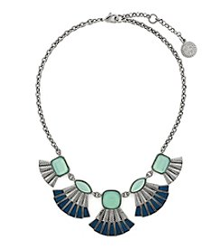 Jessica Simpson Silvertone Opal Fan Frontal Necklace