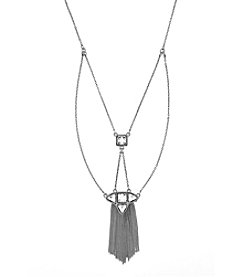 Jessica Simpson Silvertone Stone and Chain Trapeze Drama Necklace