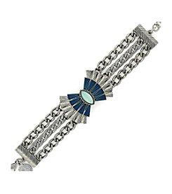 Jessica Simpson Silvertone Opal Chain Line Bracelet