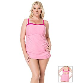 Jessica Simpson Plus Size Boardwalk Shirred Bandeau One Piece Swimdress